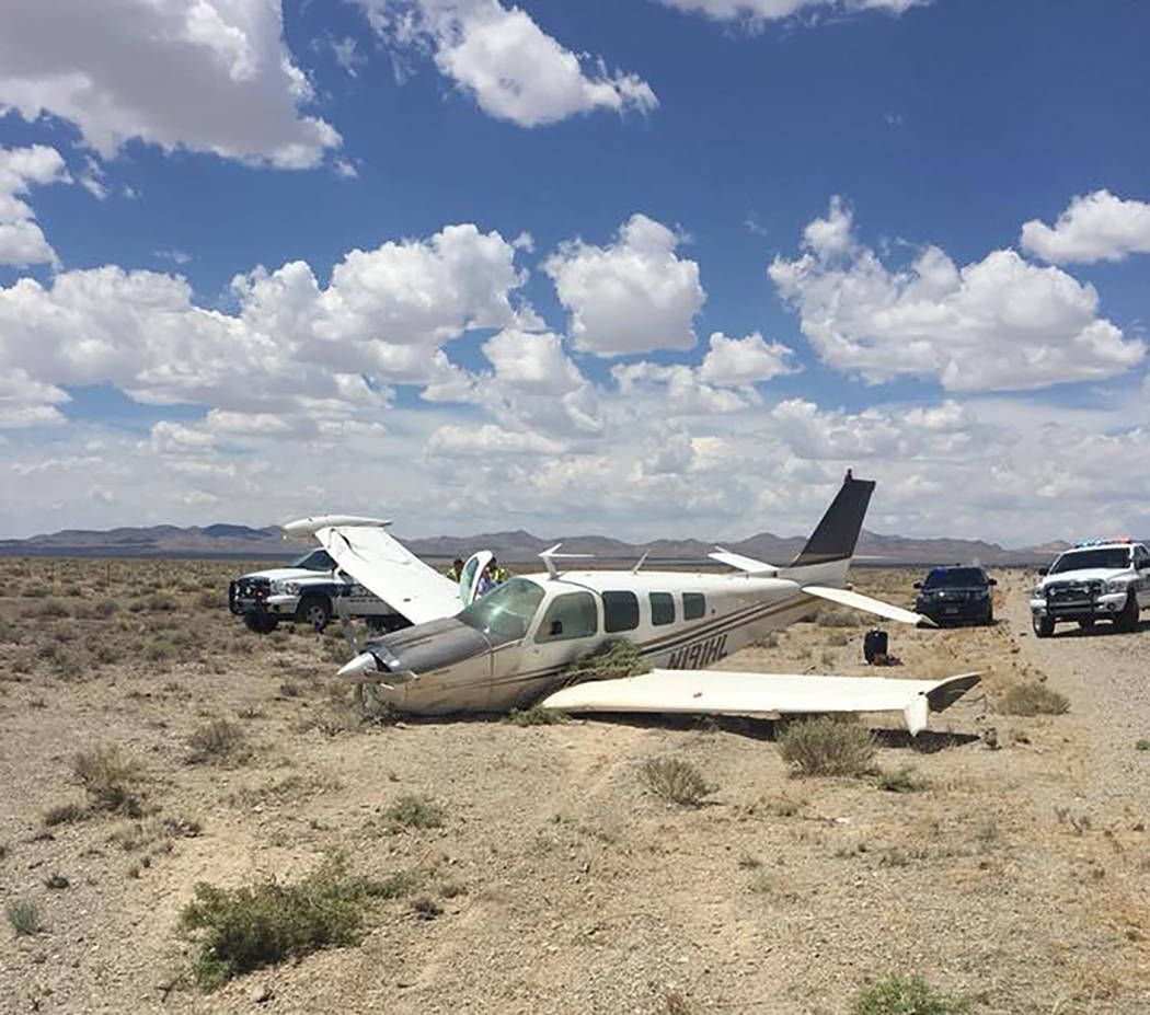 Nevada Highway Patrol A look at the small airplane on Wednesday afternoon in central Nye County. No one was hurt, the Nevada Highway Patrol said.