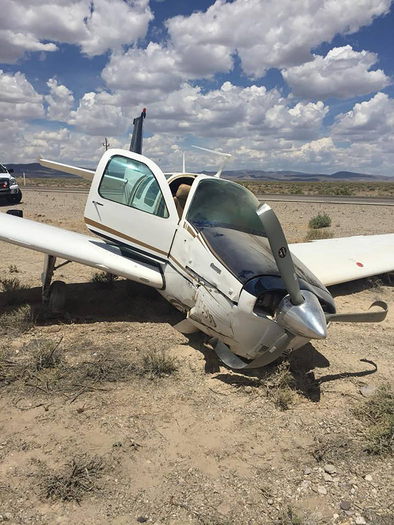 Nevada Highway Patrol The small plane went down about 10 miles east of Tonopah, the Nevada Highway Patrol said. No injuries were reported Wednesday.