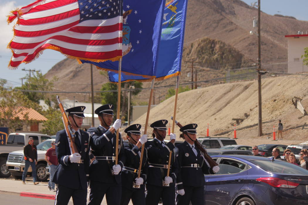 Jeffrey Meehan/Pahrump Valley Times The Nellis Air Force Honor Guard was first to walk along Main Street in Tonopah during the Jim Butler Days' event on May 26, 2018. The event lasted roughly an ...