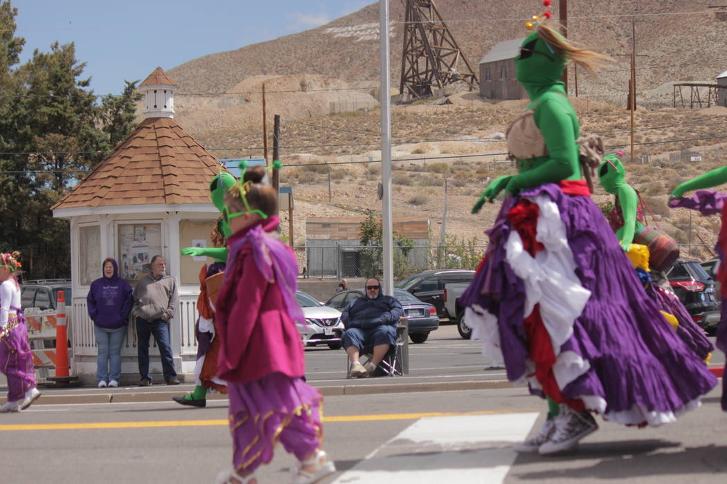 Jeffrey Meehan/Pahrump Valley Times Extraterrestrials strolled down Main Street during the parade at Jim Butler Days. The off-planet beings walked and jumped during the hour-long event.