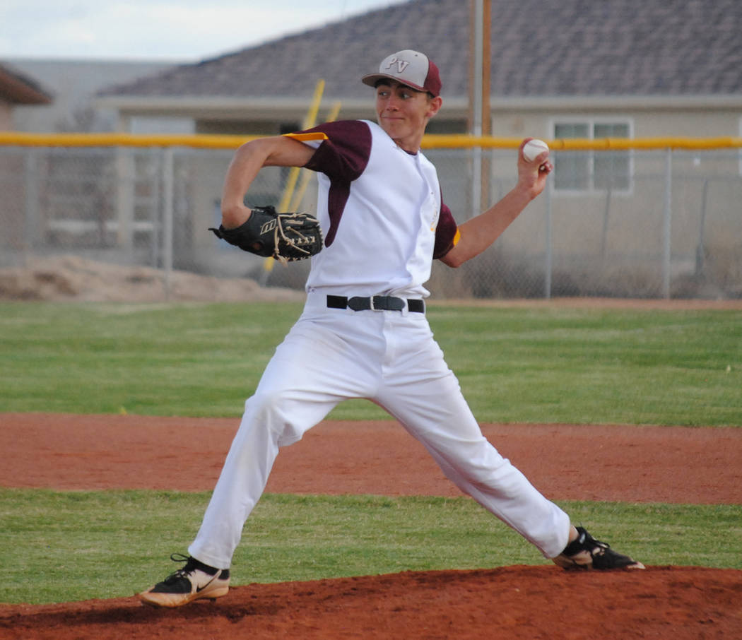 Charlotte Uyeno/Pahrump Valley Times First-team Class 3A all-state pitcher Garrett Lucas delivers against Del Sol on March 13 in Pahrump. Lucas threw a five-inning perfect game against the Dragons ...