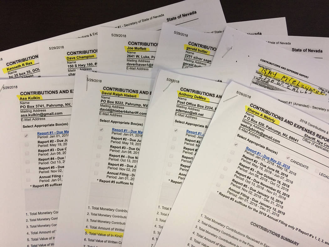 Robin Hebrock/Pahrump Valley Times The first round of Contributions and Expenses reports filed by candidates for Nye County Sheriff are shown. Incumbent Sharon Wehrly has spent the most so far at ...