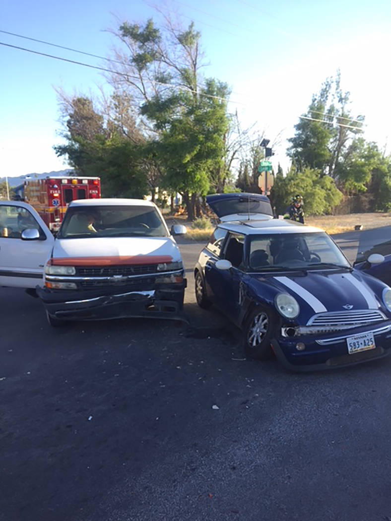 Special to the Pahrump Valley Times On Saturday, emergency crews responded to an injury motor vehicle crash at Basin Avenue and Leslie Street just before 6:30 p.m. Pahrump Fire Chief Scott Lewis s ...