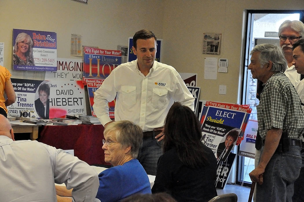 Horace Langford Jr./Pahrump Valley Times On May 31 Nevada gubernatorial candidate Adam Laxalt stopped at the Nye County Republican Central Committee headquarters during his Get Out the Vote Tour.