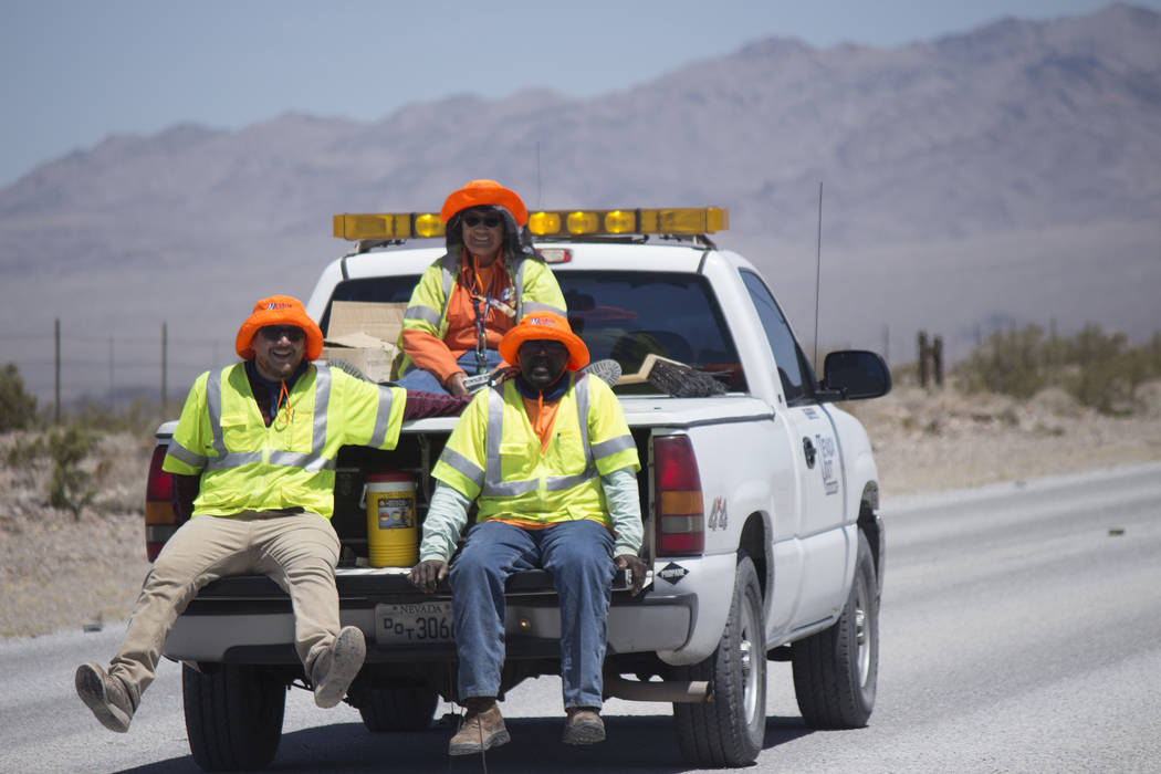 Jeffrey Meehan/Pahrump Valley Times Construction crews travel along Highway 160 on June 6, 2018. Road maintenance is planned along Highway 160 north of Pahrump, near the Johnny Curve, from 6 a.m. ...