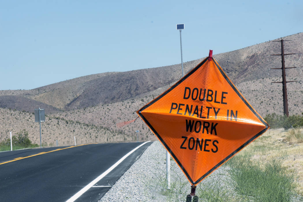 Jeffrey Meehan/Pahrump Valley Times The Nevada Department of Transportation is reminding motorists traveling along Highway 160, north of Pahrump, to take caution during road work on various days a ...