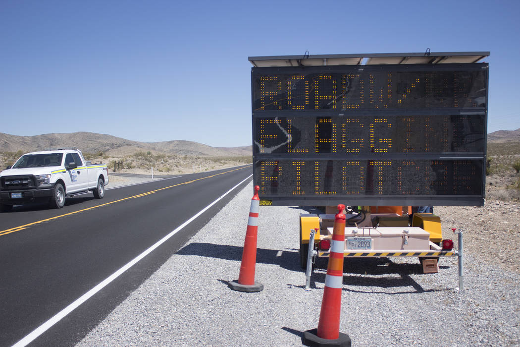 Jeffrey Meehan/Pahrump Valley Times Signs are in place to warn motorists of impending construction between mile marker 27 and 37, along Highway 160. The Nevada Department of Transportation will be ...
