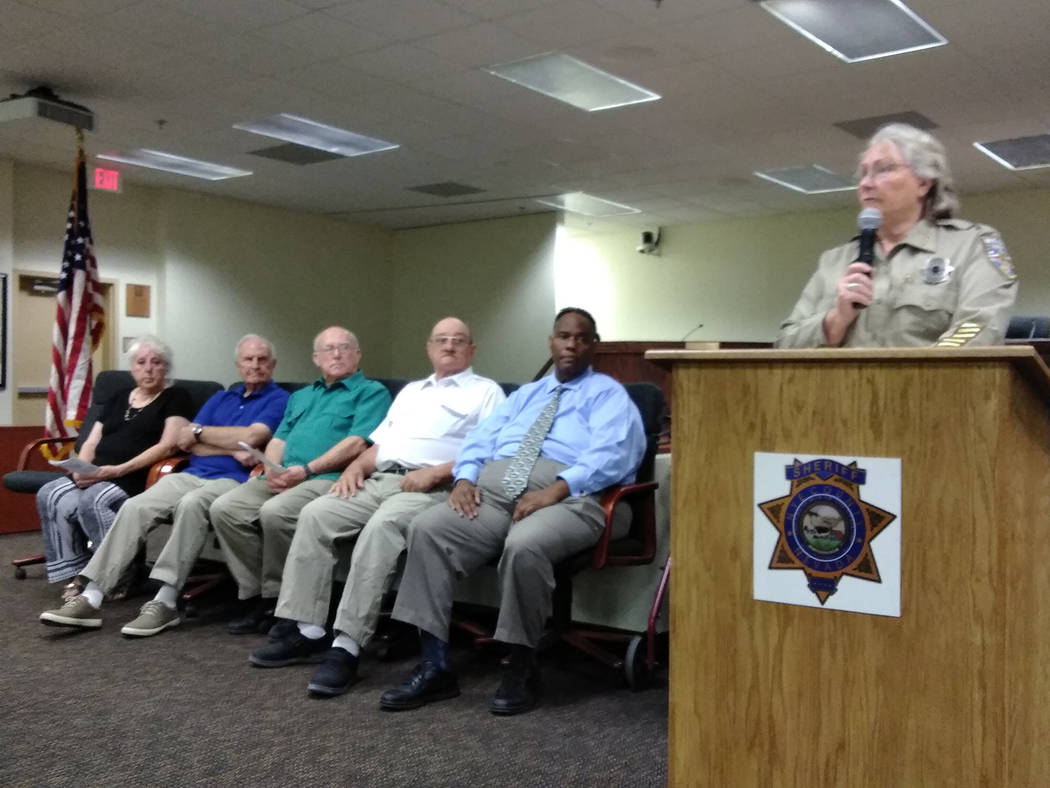 Selwyn Harris/Pahrump Valley Times Nye County Sheriff Sharon Wehrly provides remarks prior to officially swearing in the new Peace Officer Advisory Board Academy last week. The members, Wehrly not ...