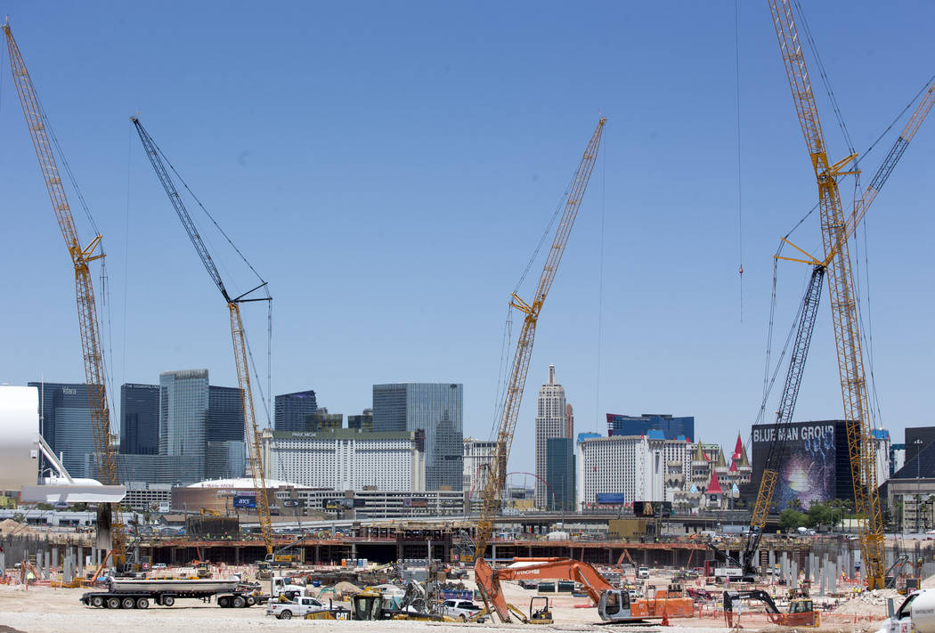 Richard Brian/Las Vegas Review-Journal A look at construction at the Raiders stadium site in Las Vegas. Gov. Brian Sandoval recently appointed members to the Southern Nevada Sporting Event Committee.