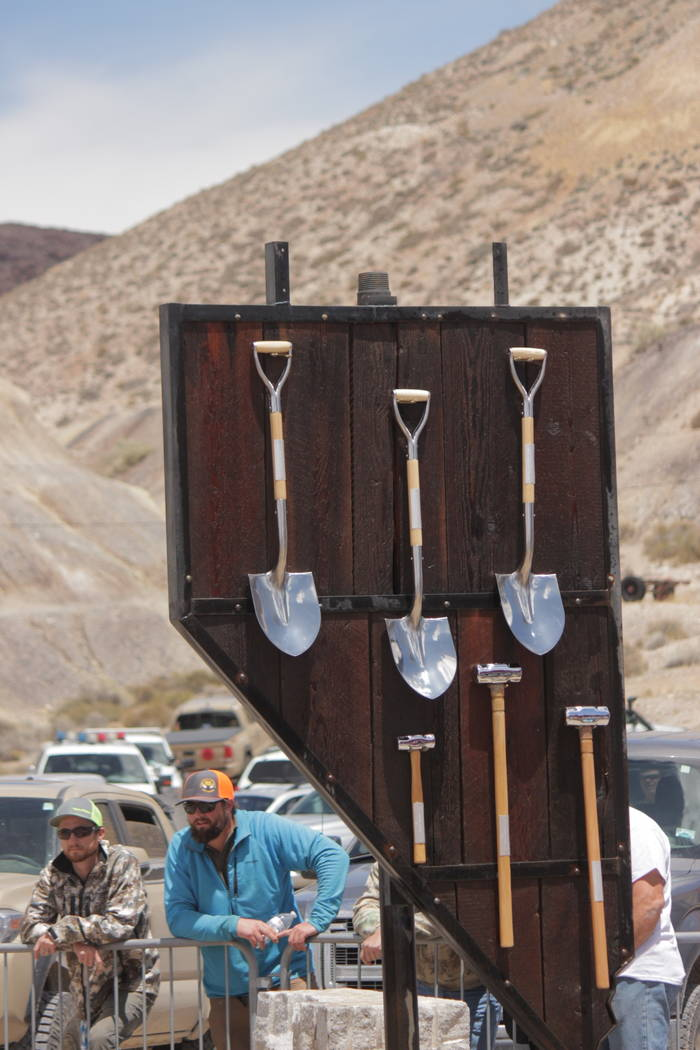 Jeffrey Meehan/Pahrump Valley Times Competitors vied for the No. 1 spots in drilling and mucking during the 2018 Nevada State Mining Championships. The top muckers, in both single and team efforts ...