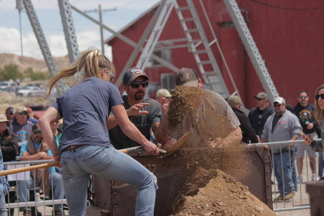 Jeffrey Meehan/Pahrump Valley Times Three women fought for three spots in the women's mucking competition during the 2018 Nevada Mining Competition at the Tonopah Historic Mining Park on May 26, 2 ...