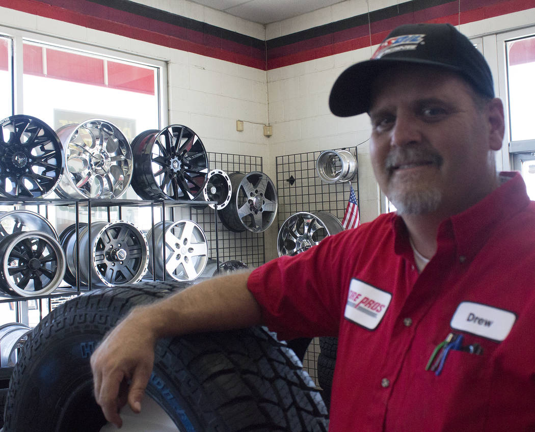 Jeffrey Meehan/Pahrump Valley Times Drew Witten, owner of Drew's Tire Pros & Automotive at 1301 E. Highway 372 on June 4, 2018. Witten said he switched from being a Big O Tires location to Tire Pr ...
