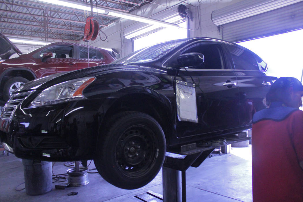 Jeffrey Meehan/Pahrump Valley Times Repair technicians work to help keep motorists rolling on June 4, 2018 Drew's Tire Pros & Automotive at 1301 E. Highway 372. Drew's switched labels in 2018 from ...