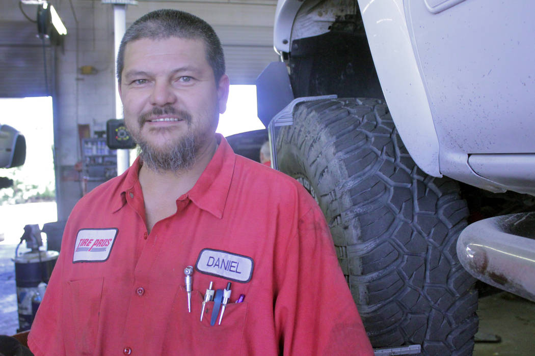 Jeffrey Meehan/Pahrump Valley Times More than a dozen repair technicians and other employees work to keep motorists on the road at Drew's Tire Pros & Automotive at 1301 E. Highway 372. The shop sw ...