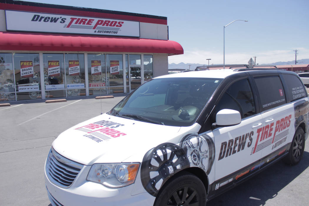 Jeffrey Meehan/Pahrump Valley Times Pictured is Drew's Tire Pros & Automotive at 1301 E. Highway 372. The location was previously a Big O Tires, but ownership switched labels in 2018.