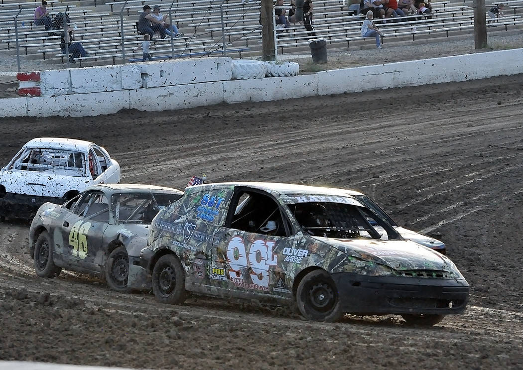 Horace Langford Jr./Pahrump Valley Times Haylee Little, 15, of Pahrump drives the #99L Ford Focus to victory in the Mini Stocks race Saturday night at Pahrump Valley Speedway.