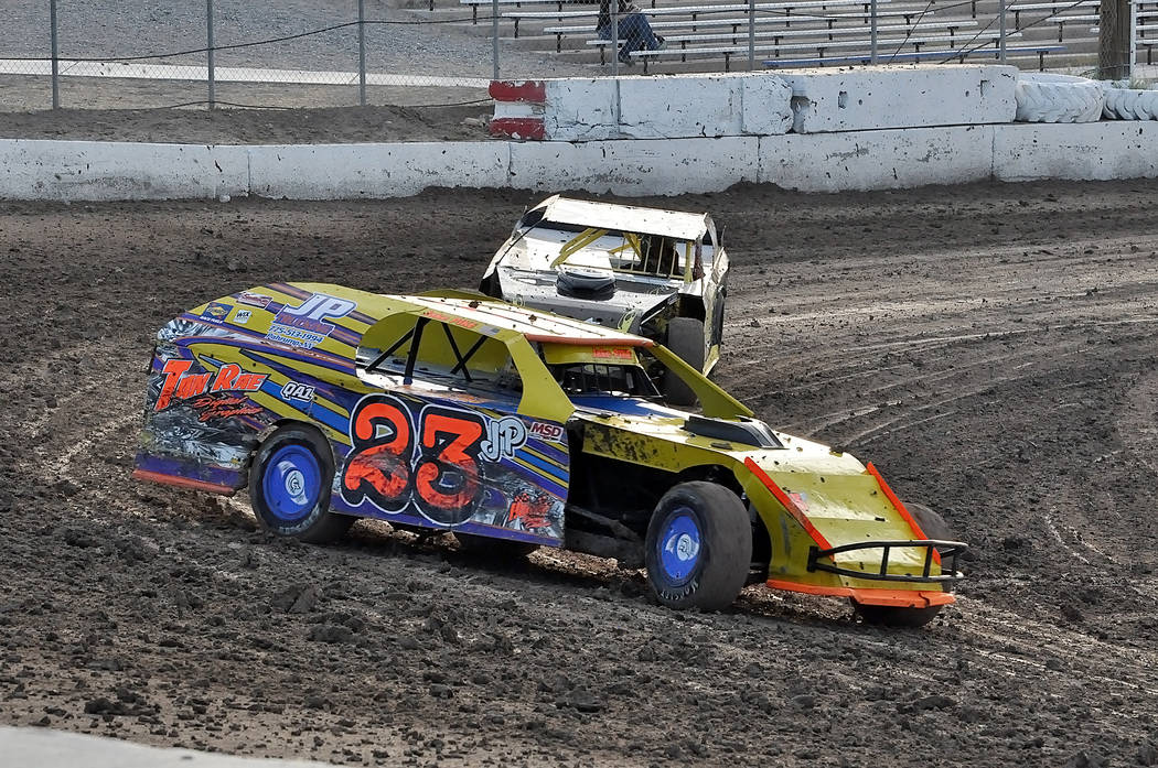 Horace Langford Jr./Pahrump Valley Times Jake Pike, 14, of Pahrump competes in the Modified division Saturday night at Pahrump Valley Speedway. Pike is a third-generation racer on dirt tracks.