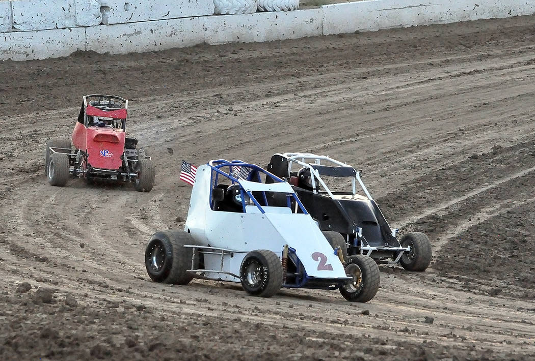 Horace Langford Jr./Pahrump Valley Times Jason Funk has the #2 car in the lead during the Micro Sprint race Saturday night at Pahrump Valley Speedway. Funk wound up taking the checkered flag.