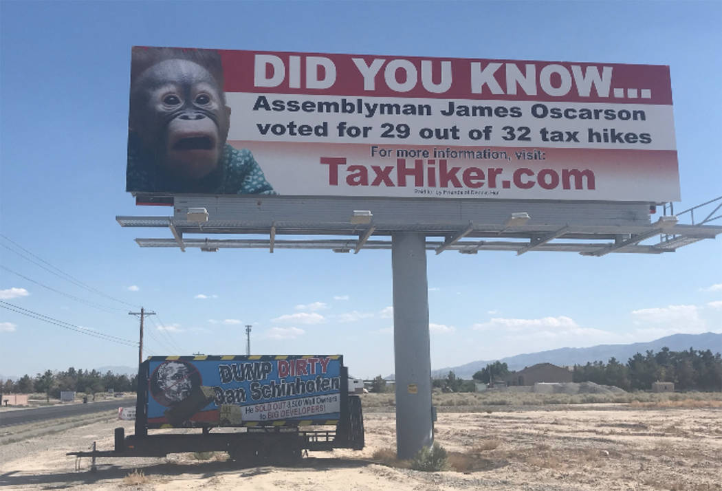 Special to the Pahrump Valley Times The photo, provided in the most recent lawsuit filed by Dennis Hof against Nye County, shows the sign Nye County was ordered to return to Hof's property. The or ...