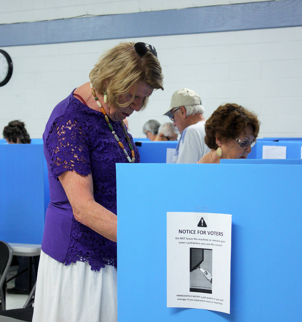 Robin Hebrock/Pahrump Valley Times For many, taking part in the election process is serious business and voters could be seen carefully casting their votes throughout the June 12 primary.