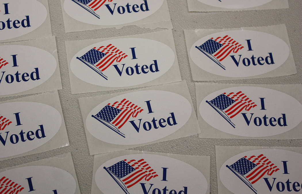 "Robin Hebrock/Pahrump Valley Times ""I Voted"" stickers were proudly displayed by thousands of the voters who made their opinions known through the 2018 Primary Election."
