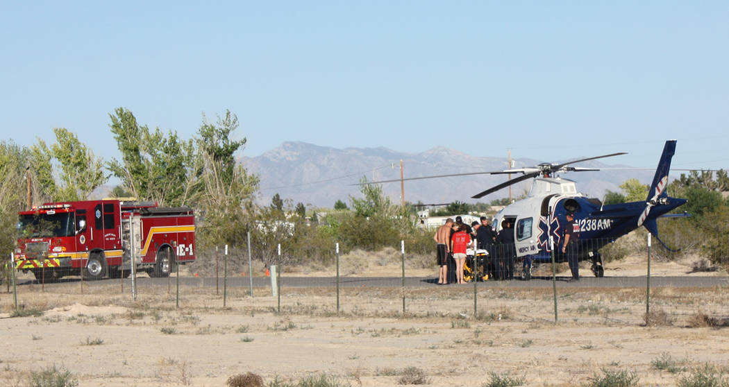 Robin Hebrock/Pahrump Valley Times A three year-old child was flown to UMC Trauma after nearly drowning in a backyard swimming pool on Wednesday June 6. The incident occurred just before 6 p.m., a ...