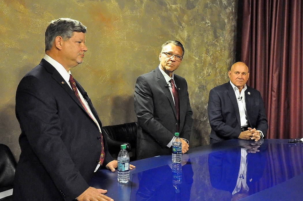 Horace Langford Jr./Pahrump Valley Times Nevada Assemblyman James Oscarson, left, Dr. Joseph Bradley, middle, and Dennis Hof, right, participated in a live debate televised by KPVM TV on April 11. ...