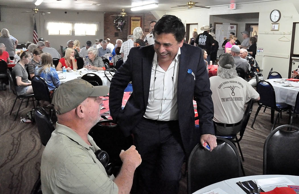 Horace Langford Jr./Pahrump Valley Times John Prudhont who ran for Nye County treasurer in the 2018 election cycle stands at an event put on by the Hof Campaign at the Pahrump Senior Center on Ma ...
