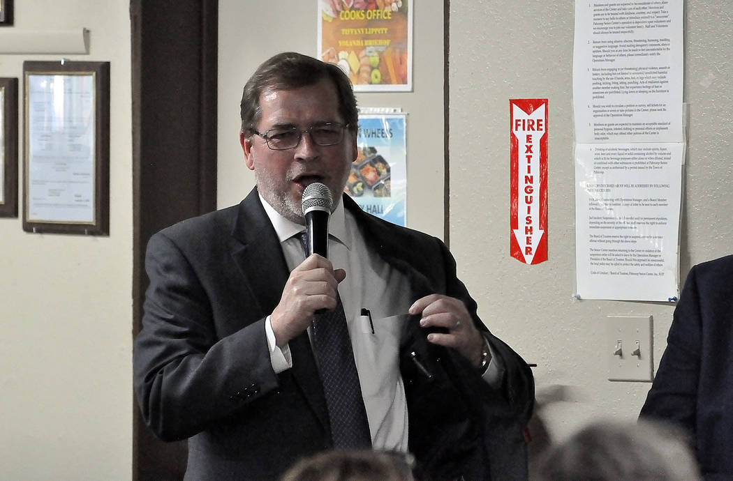 Horace Langford Jr./Pahrump Valley Times - May 11, 2018 Event for Grover Norquist, Grover Norquist speaks at a campaign rally for Dennis Hof on May 11, 2018. The rally, held at the Pahrump Senio ...