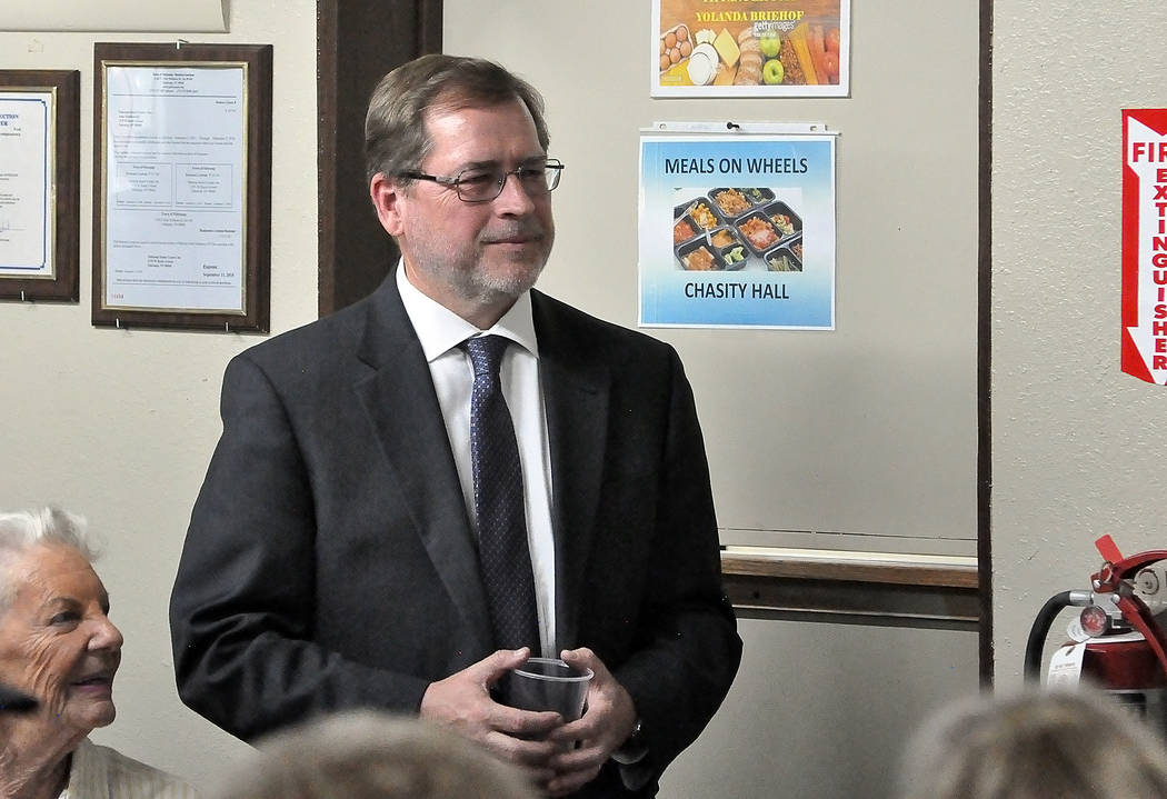 Horace Langford Jr./Pahrump Valley Times Grover Norquist at the Pahrump Senior Center on May 11, 2018. Norquist spoke at what was a rally for the Dennis Hof campaign.
