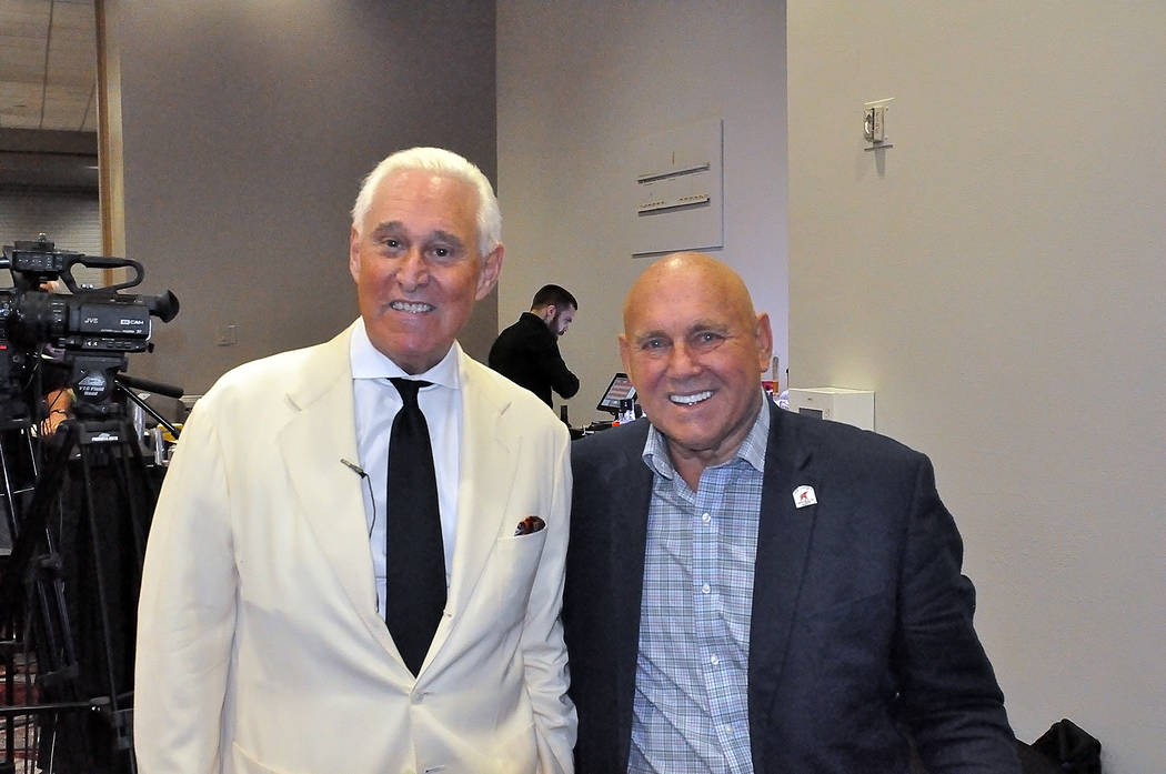 Horace Langford Jr./Pahrump Valley Times Roger Stone (left), who has been a longtime confidant of President Donald Trump, stands with Dennis Hof (right) on June 2, 2018 at the Pahrump Nugget. Ston ...
