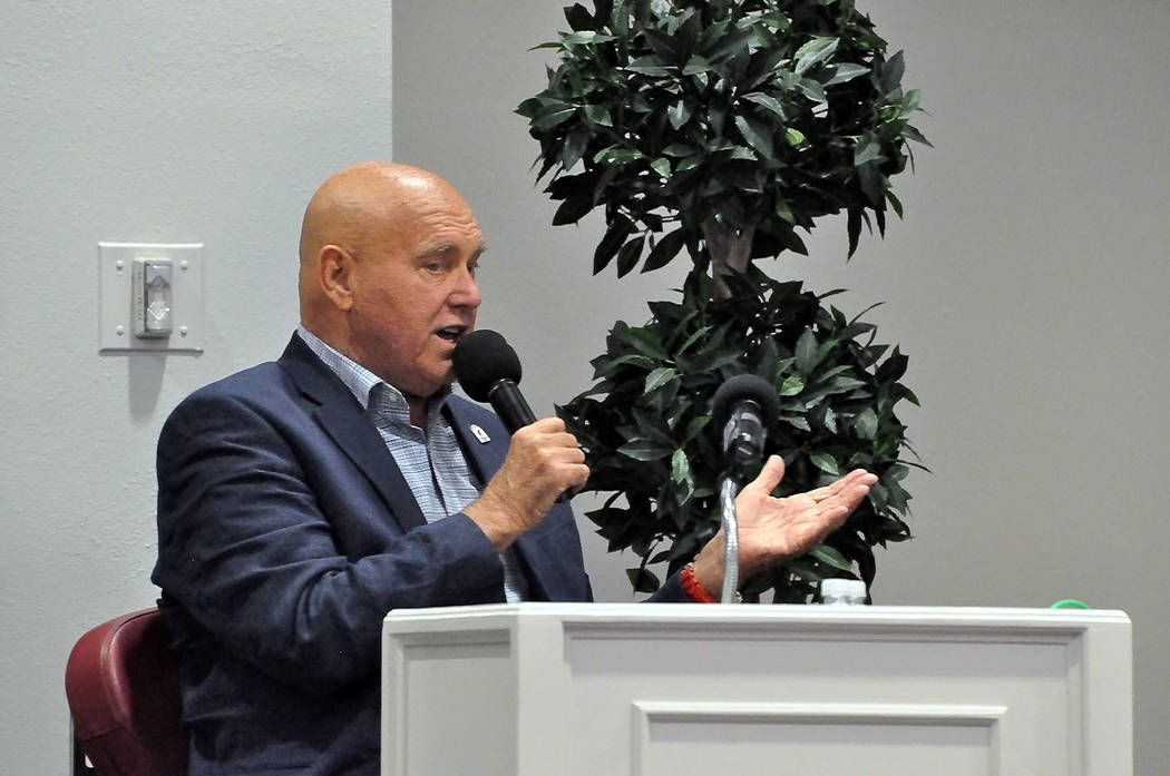 Horace Langford Jr./Pahrump Valley Times Dennis Hof Dennis Hof speaks at his campaign rally on June 2, 2018 at the Pahrump Nugget in Pahrump. The event's keynote speaker was Roger Stone who has ...