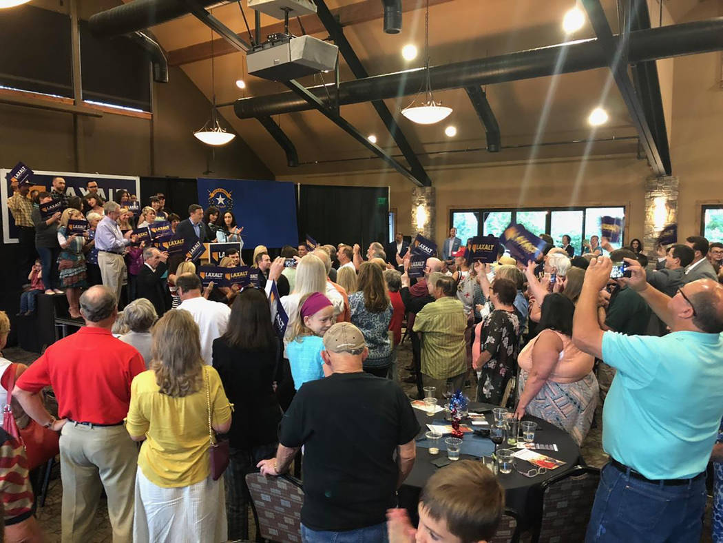 Special to the Pahrump Valley Times A huge crowd of Adam Laxalt supporters flocked to his primary election watch party to help him celebrate his victory.
