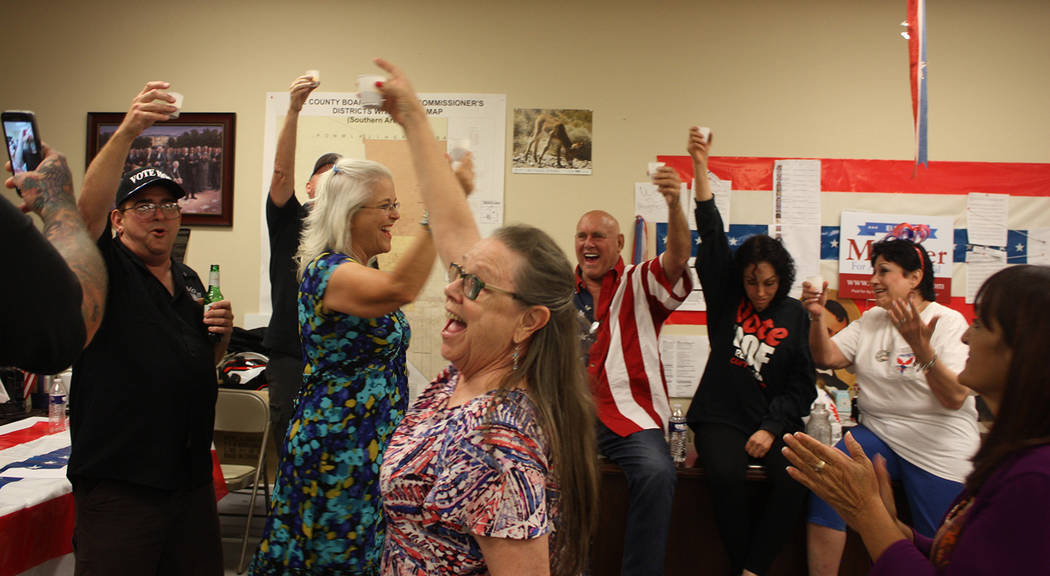 Special to the Pahrump Valley Times The scene at the Nye County Republican Central Committee Headquarters was jubilant as primary election watch party attendees rejoiced over the wins of their cho ...
