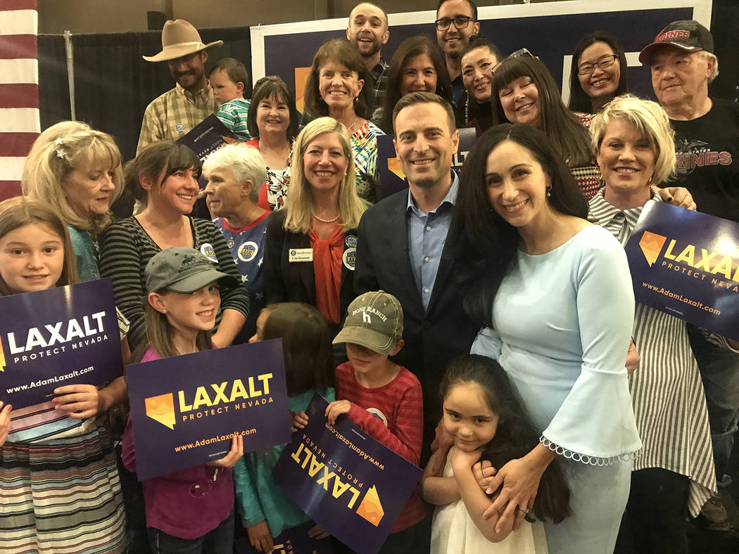 Special to the Pahrump Valley Times Adam Laxalt dominated the 2018 Republican Primary race for the Nevada governor's nomination. He is pictured basking in the glow of success following the release ...