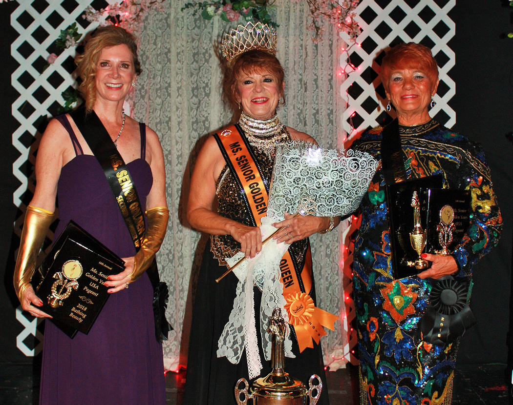 Robin Hebrock/Pahrump Valley Times From left to right are 2018 Ms. Senior Golden Years second runner-up Mary McRory, queen Teri Rogers and first runner-up Autum Casterline.