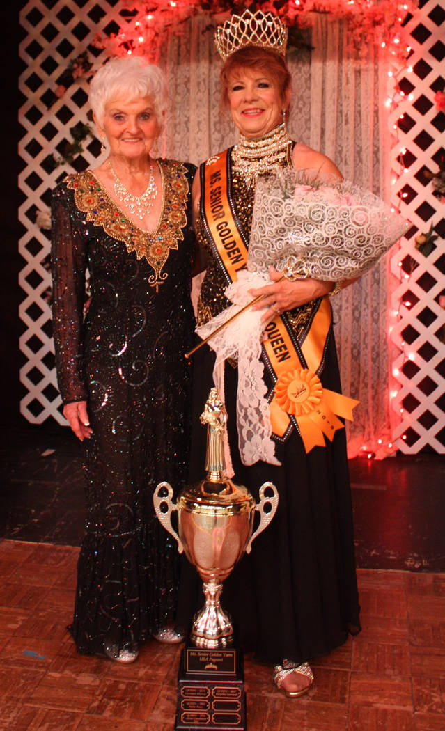 Robin Hebrock/Pahrump Valley Times Ms.Senior Golden Years Founder B.J. Hetrick-Irwin posed with newly crowned 2018 queen Teri Rogers after the Saturday, June 9 pageant.
