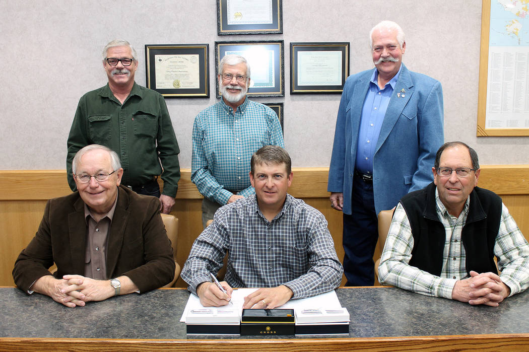 Special to the Pahrump Valley Times Valley Electric Association Inc. announced the officer lineup in June 2018 for the co-op's board of directors. Front row, from left: David Dawson, District 6 ...