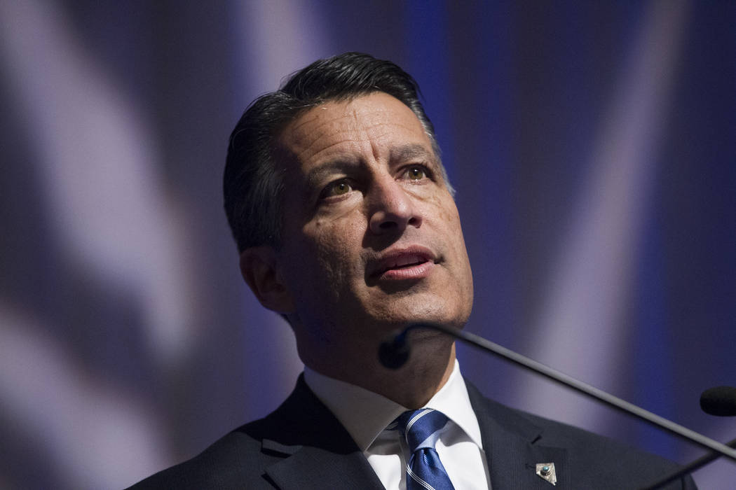 Erik Verduzco/Las Vegas Review-Journal Gov. Brian Sandoval speaks during the Nevada Governor's Global Tourism Summit at the Flamingo hotel-casino in Las Vegas, Tuesday, Dec. 5, 2017.