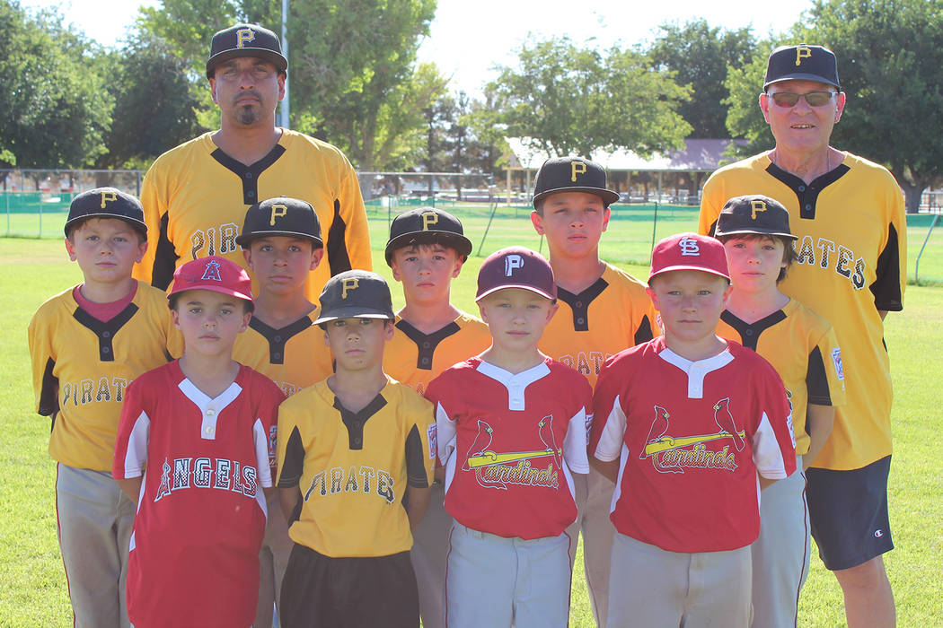 Caroline Thacker/Special to the Pahrump Valley Times Members of the P-Town Little League's all-star team in the 8-to-10-year-old division opened District 4 Tournament play with a 12-4 victory over ...