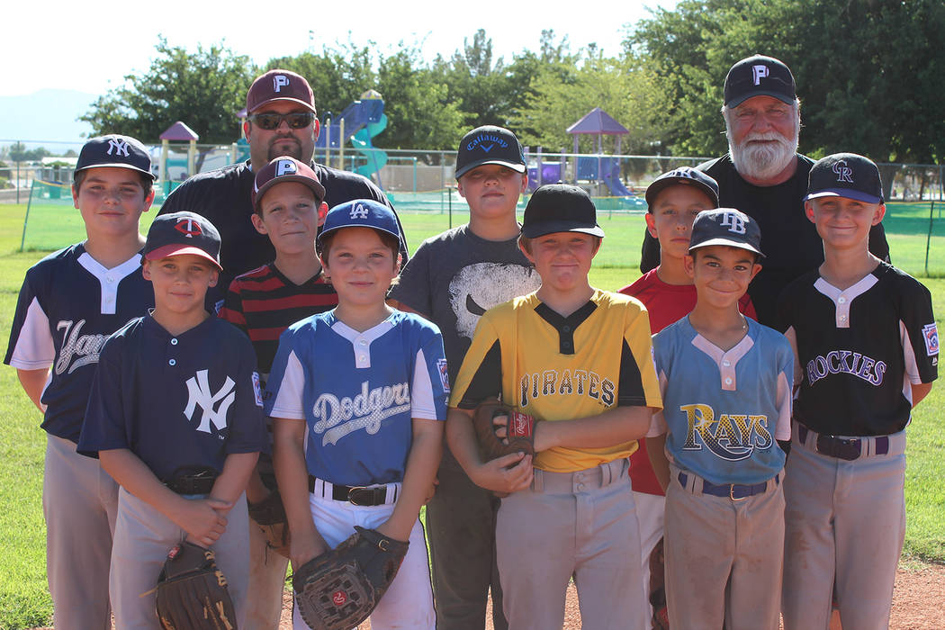 Caroline Thacker/Special to the Pahrump Valley Times The P-Town Little League 9-to-11-year-old all-stars pose at Ian Deutch Memorial Park in Pahrump before beginning tournament play at Mountain Ri ...