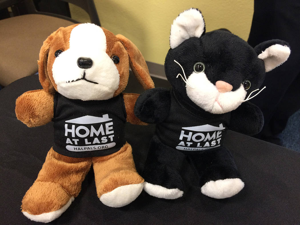 Robin Hebrock/Pahrump Valley Times The cute critters shown are mascots of the Home at Last Pals Pet Adoption program, which covers the cost of adoption for residents utilizing Home at Last's down- ...