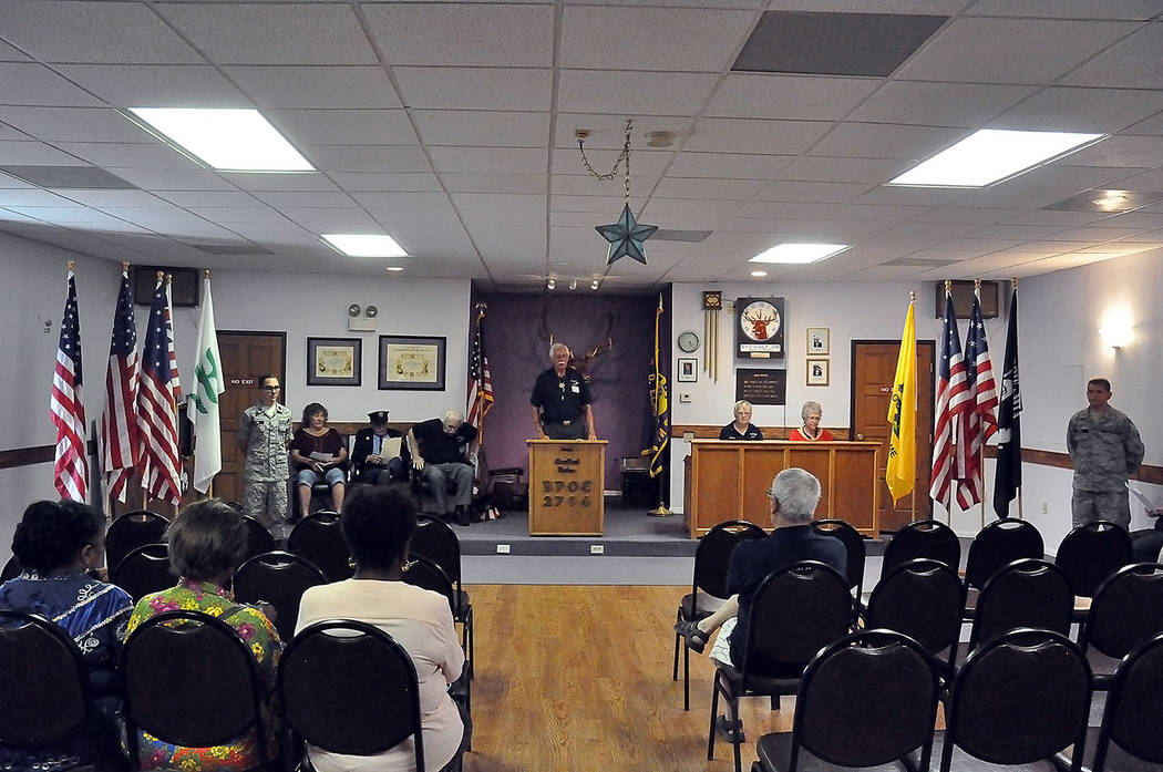 Horace Langford Jr./Pahrump Valley Times Pahrump Elks Lodge Exalted Ruler Chuck Coleman expressed a bit of disappointment over the lack of attendees at the special Flag Day ceremony on Friday June 15.