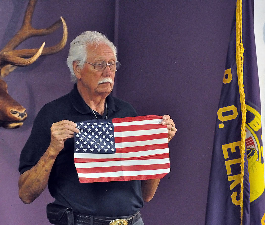 Horace Langford Jr./Pahrump Valley Times Pahrump Elks Lodge Exalted Ruler Chuck Coleman spoke about the evolution of the American flag over years during Friday's special Flag Day ceremony on Frida ...