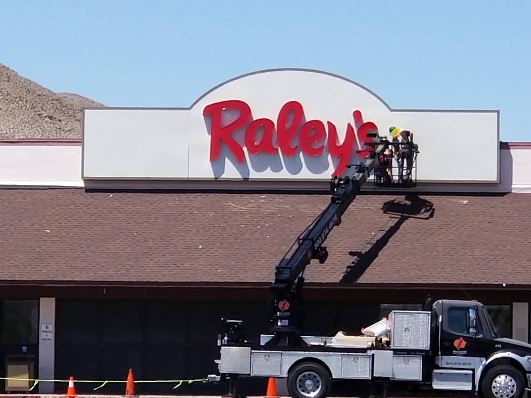Nancy Whipperman/Pahrump Valley Times West Sacramento-based Raley's finishes work on putting a sign where Scolari's Food & Drug Co. once hung. Raley's purchased five Scolari's and a Sak 'N Save in ...