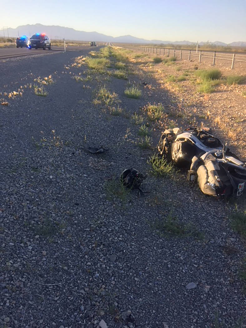 Special to the Pahrump Valley Times A motorcyclist is recovering from injuries sustained in a crash along south Highway 160 in Clark County on Tuesday June 12. The unidentified rider was discovere ...