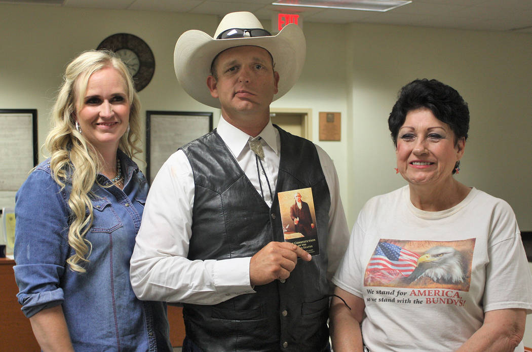 Robin Hebrock/Pahrump Valley Times From left to right are Angela Bundy, Ryan Bundy and Nye County Commissioner Donna Cox. Bundy is making a bid for Nevada governor with no political party affiliat ...