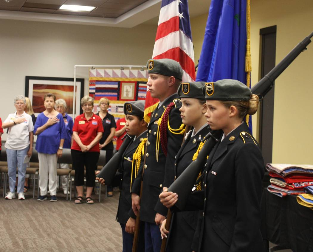 Robin Hebrock/Pahrump Valley Times The Pahrump Valley High School JROTC added to the patriotic atmosphere at the Quilts of Valor presentation, presenting the colors.
