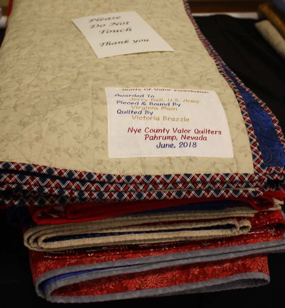 Robin Hebrock/Pahrump Valley Times All quilts of valor given to local veterans are personalized with a label detailing who crafted the quilt and to whom it was presented.