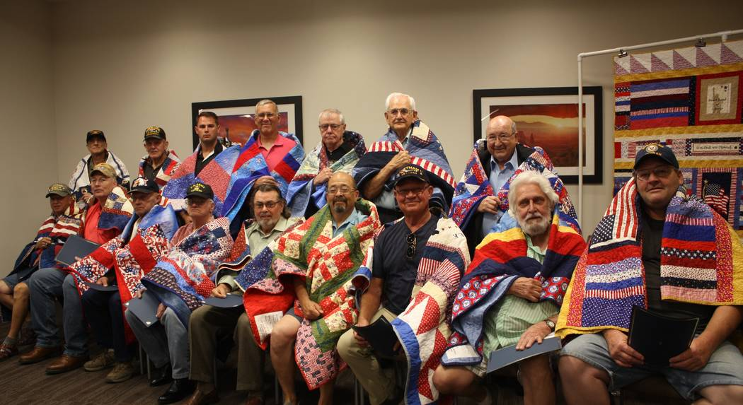 Robin Hebrock/Pahrump Valley Times A total of 16 veterans were able to attend the June Quilts of Valor presentation ceremony and all were clearly thrilled to receive the handmade creations.